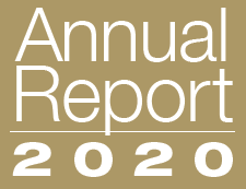 Gold and white image that reads Annual Report 2020