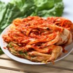 Plate of kimchi.