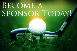A golf club in position to hit a golf ball image with Become a Sponsor Today text at the top of the image.