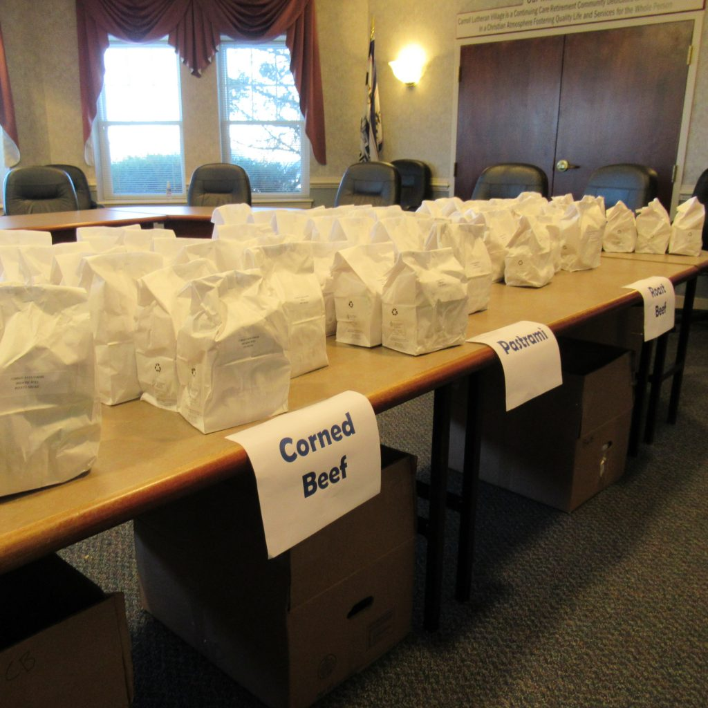 Hahn's meal bags lined up waiting for team members.