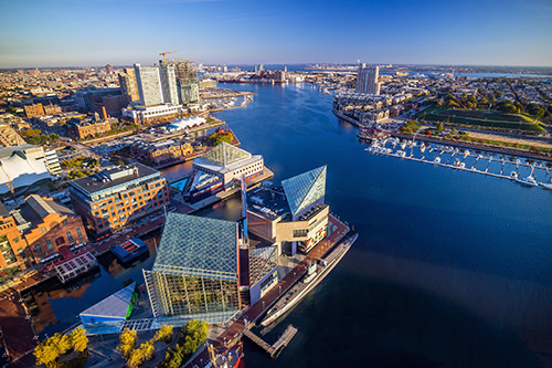 The Inner Harbor is less than an hour from our Baltimore retirement community.