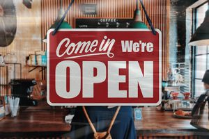 """""""Come In, We're Open"""" sign in Reisterstown near a retirement community."""