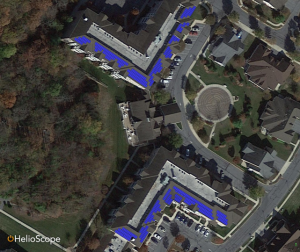 Mock up of solar panel installation on buildings 1 and 2 of 1000 Weller Circle.
